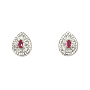 925 sterling silver pear shaped pink diamond