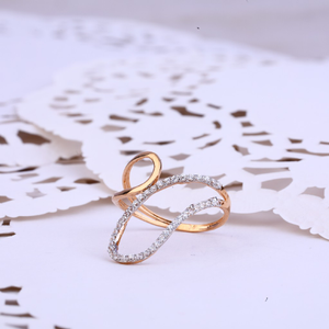 Ladies rose gold cz 18k ring-rlr332