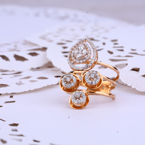 Ladies rose gold 18k long ring-rlr274