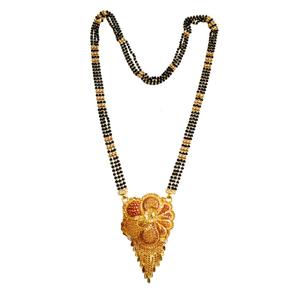 22k gold golden flower 3 line mangalsutra mga