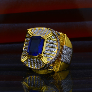 Mens exclusive blue stone heavy fancy gold 22