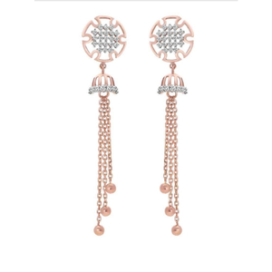 18k rose gold earring with hanging lines pj-e