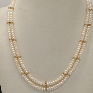 Freshwater white flat pearls 2layers neckla