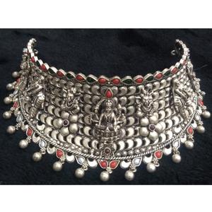 925 pure silver temple choker in antique poli