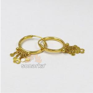 22k gold ladies dangling heart earrings by so