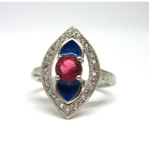 Silver 925 dark pink stone blue meena ring sr