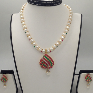 Multicolour cz and pearls pendent set with 1