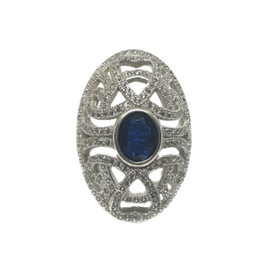 925 sterling silver oval shaped blue stone ri