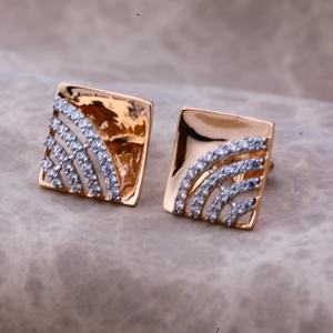 Ladies 18k rose gold fancy cz earring -re57