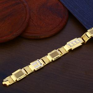Mens plain gold bracelet-mpb94