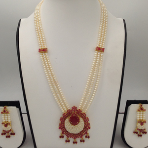Red cz and white pearlsrani haarset with