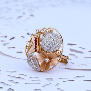 Ladies rose gold cz ring-rlr40