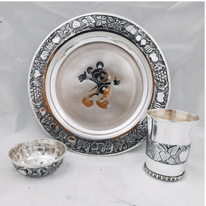 92.5 pure silver baby dinner set in antique f