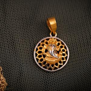 22k round ganesh pendant