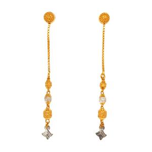 22k gold long soy dora earrings mga - btg0389