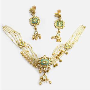 916 gold antique pearl necklace set rhj-5003