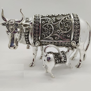 925 pure silver cow & calf in antique car