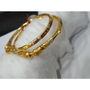 22kt gold maroon stone design copper kadli