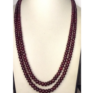 Natural red ruby glass filled round beeds gra