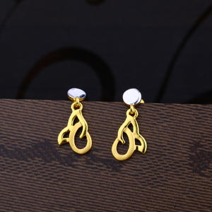 Ladies 916 gold designer plain earring -lpe24