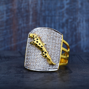 Mens cz gold jaguar 916 designer ring-mr66