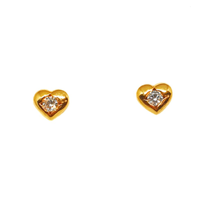 22k gold heart shaped earrings mga - btg0195