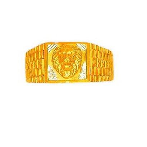 22k gold cz designer plain lion shape gents r