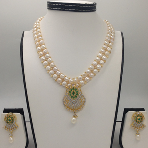 White, green cz and pearls pendent set with