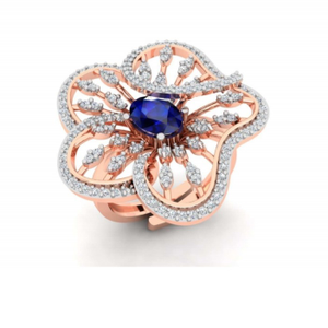 18k gold blue stone flower design ring for wo