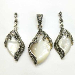 925 sterling silver oxides pendant set