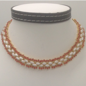 Corals and freshwater white marquise pearls c