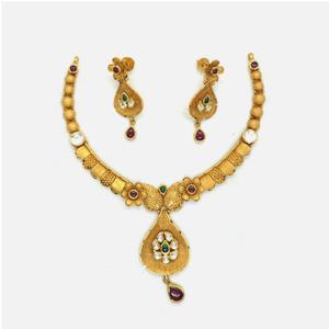 916 gold antique bridal necklace set rhj-4950