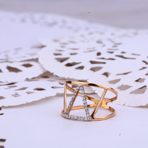 Ladies 18k fancy rose gold cz ring-rlr360