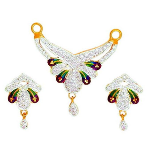 22k gold cz attractive colorful mangalsutra p