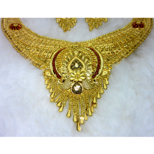 Broad bridal gold hm916 culcutti necklace set