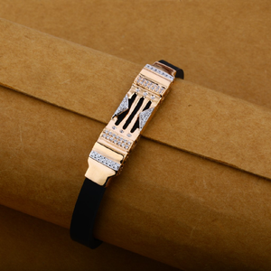 Mens 18k rose gold cz fancy leather bracelet-