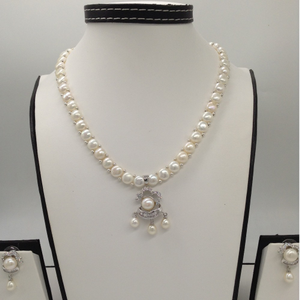 White cz and pearls pendent set with 1 lin