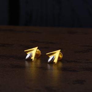 Ladies 22k gold rodium cz earring -lpe140