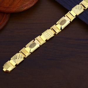 Mens plain gold cz bracelet-mpb127