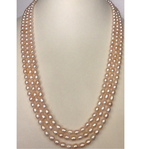 Freshwater pink oval pearls necklace 3 layers