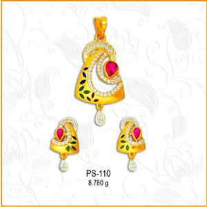 916 gold designer cz pendant set ps-110