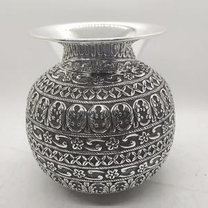 925 pure silver lota kalash in fine nakashi w