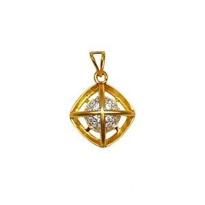 22k gold square shaped modern pendant mga - p