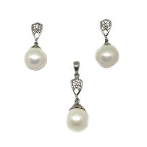925 sterling silver pearl pendant set mga - p