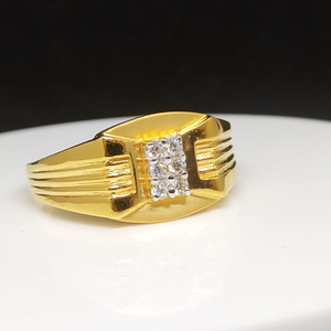 916 gold cz gents ring