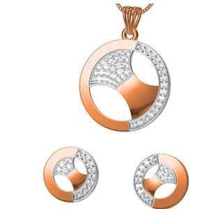 18kt cz rose gold pendant set