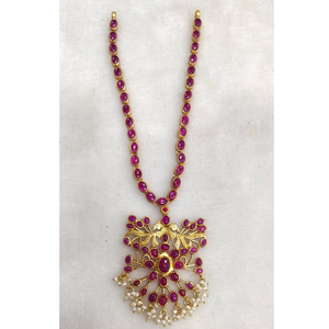 925 pure silver stylish navratan necklace in