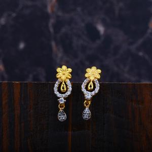 Ladies 916 gold cz earrings-lfe95