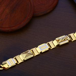 Mens gold plain cz bracelet-mpb116
