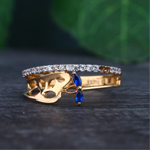 916 gold hallmark blue stone design ring